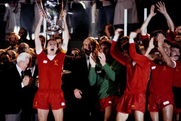 Liverpool captain Phil Thompson (left) lifts the European Cup after Liverpool won the trophy for the third time, in Paris
