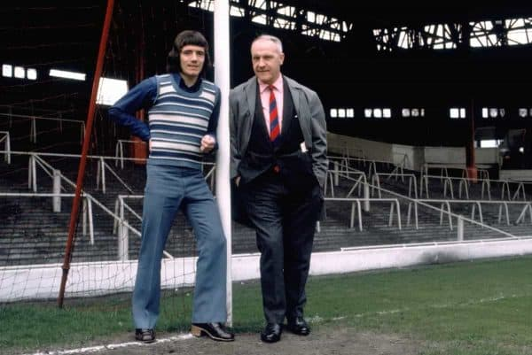 Liverpool manager Bill Shankly (left) with Kevin Keegan (right) on Anfield