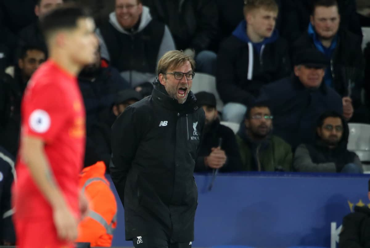 Liverpool manager Jurgen Klopp during the Premier League match at the King Power Stadium, Leicester. Photo: Nick Potts/PA Wire.