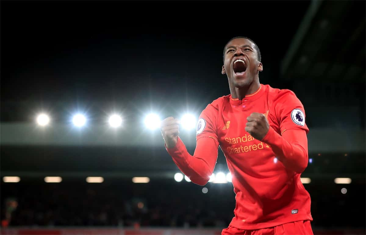 Liverpool's Georginio Wijnaldum celebrates scoring his side's third goal of the game during the Premier League match at Anfield, Liverpool. PRESS ASSOCIATION Photo. Picture date: Saturday March 4, 2017. Peter Byrne/PA Wire.