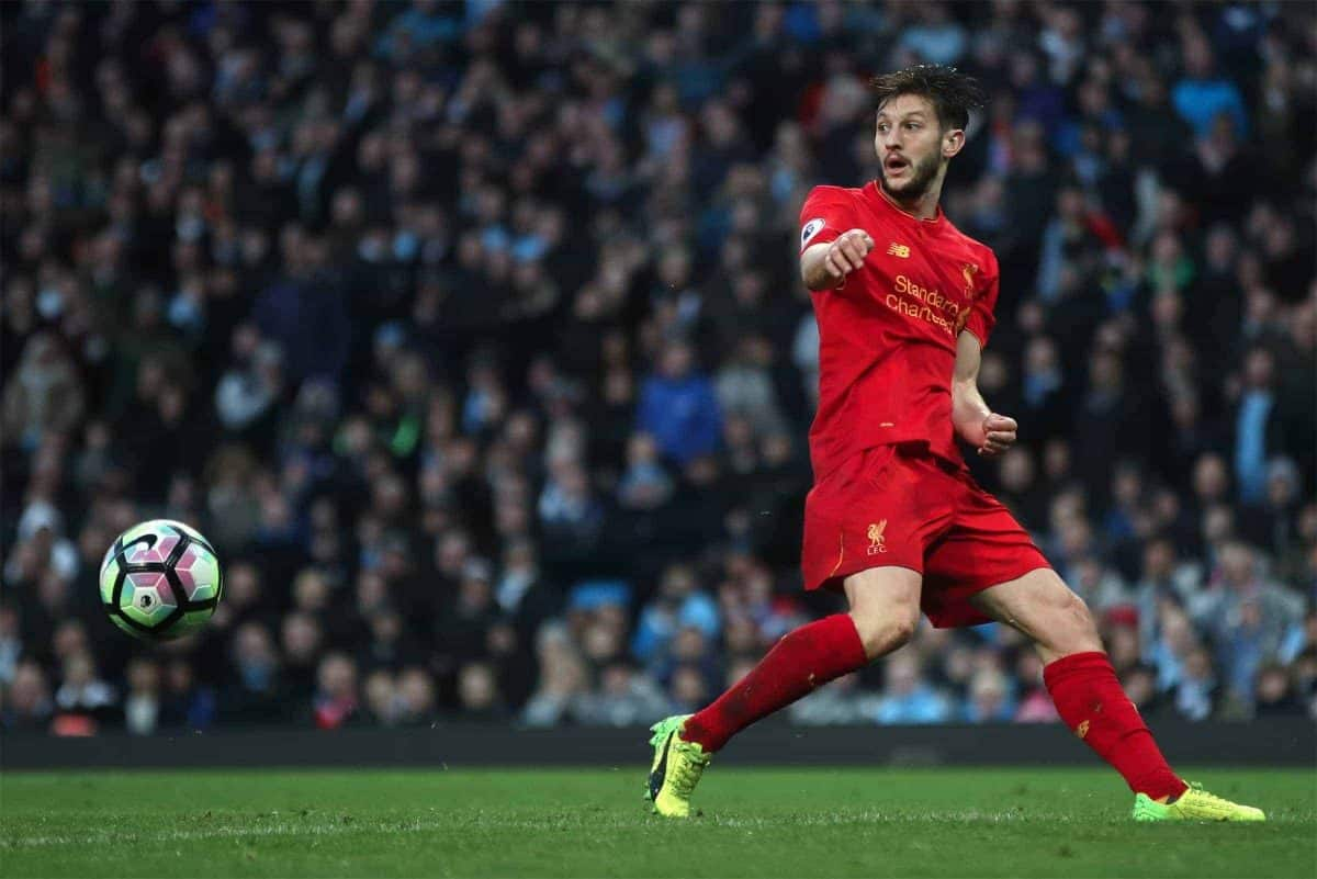 Liverpool's Adam Lallana during the Premier League match at the Etihad Stadium, Manchester.