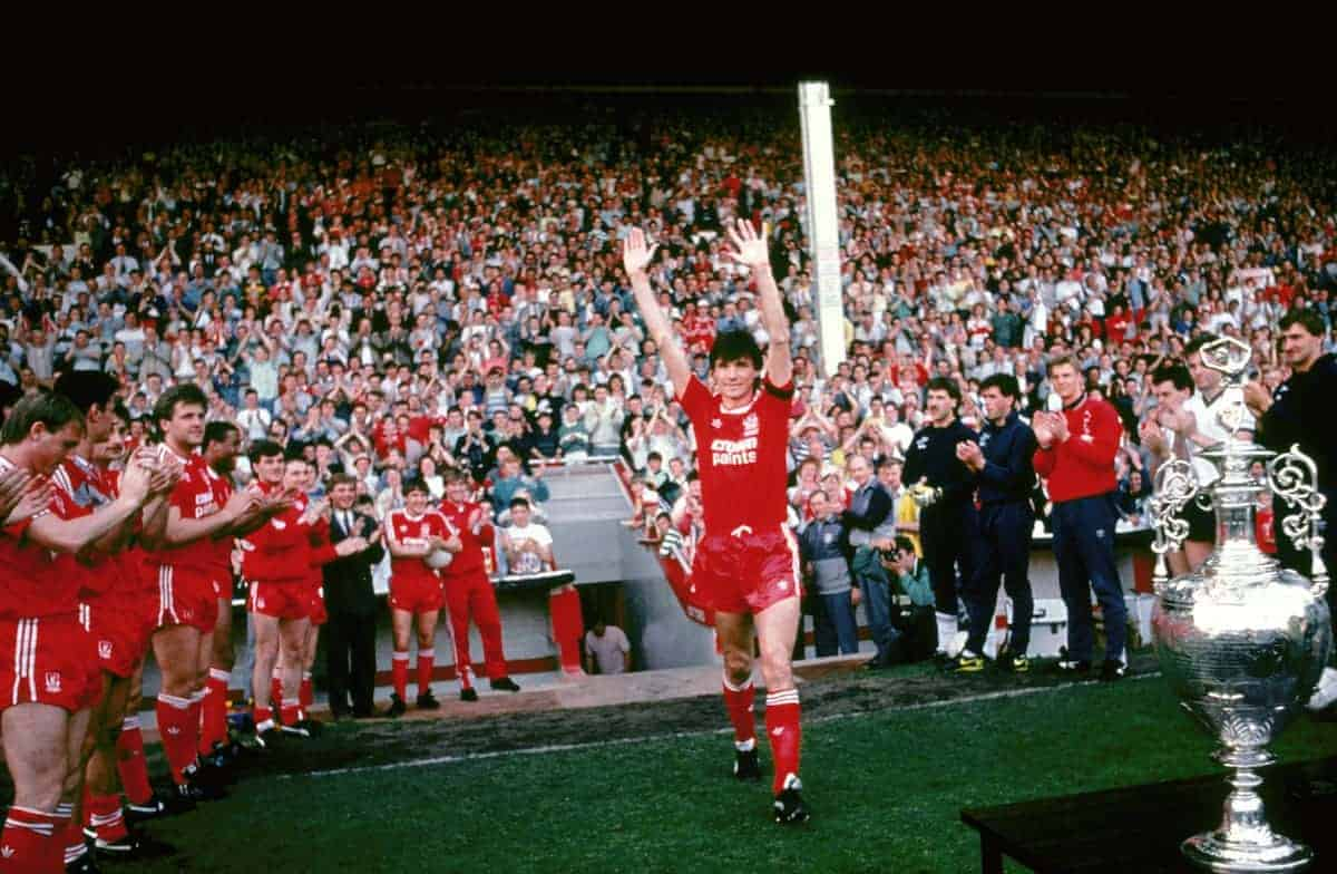 Liverpool captain Alan Hansen accepts the applause of the crowd and his teammates as he walks out to lift the League Championship trophy (Picture by: Peter Robinson / EMPICS Sport)