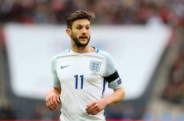 Adam Lallana of England during the Group F World Cup Qualifier at Wembley Stadium, London. Picture date: March 26th, 2017. Pic credit should read: Matt McNulty/Sportimage via PA Images