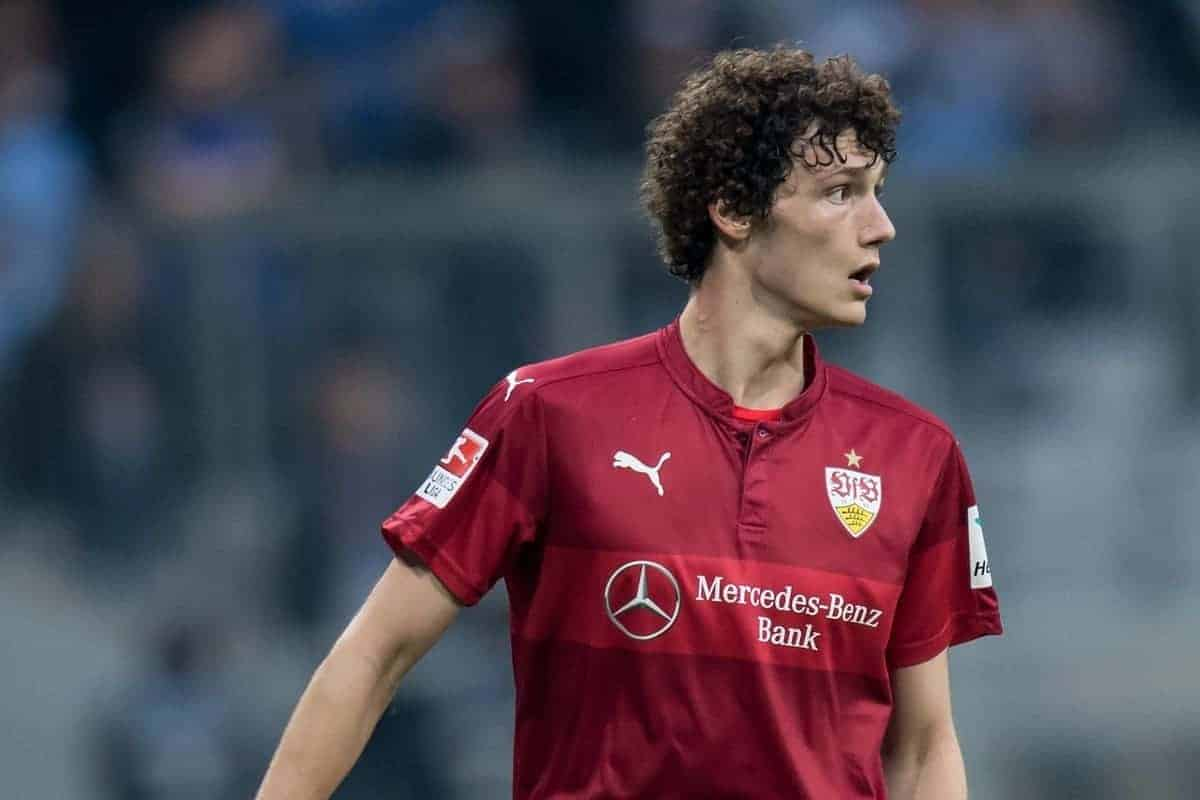 Stuttgart's Benjamin Pavard in action during the German 2nd Bundesliga soccer match between TSV†1860 Munich and VfB†Stuttgart in the Allianz Arena in Munich,†Germany, 05 April 2017. Photo: Sven Hoppe/dpa