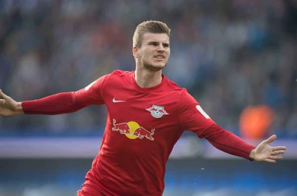 Leipzig's Timo Werner celebrates his 1:0 opener during the German Bundesliga soccer mathc between Hertha BSC and RB Leipzig in the Olympia Stadium in Berlin, Germany, 6 May 2017. (EMBARGO CONDITIONS - ATTENTION: Due to the accreditation guidelines, the DFL only permits the publication and utilisation of up to 15 pictures per match on the internet and in online media during the match.) Photo: Soeren Stache/dpa