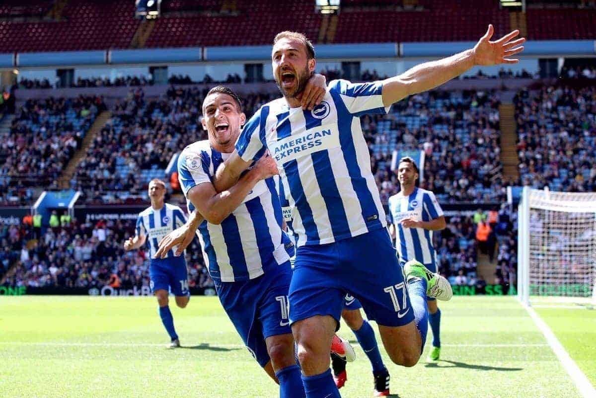"Brighton & Hove Albion's Glenn Murray (right) celebrates scoring his side's first goal of the game during the Sky Bet Championship match at Villa Park, Birmingham. PRESS ASSOCIATION Photo. Picture date: Sunday May 7, 2017. See PA story: SOCCER Villa. Photo credit should read: Nick Potts/PA Wire. RESTRICTIONS: EDITORIAL USE ONLY No use with unauthorised audio, video, data, fixture lists, club/league logos or ""live"" services. Online in-match use limited to 75 images, no video emulation. No use in betting, games or single club/league/player publications."