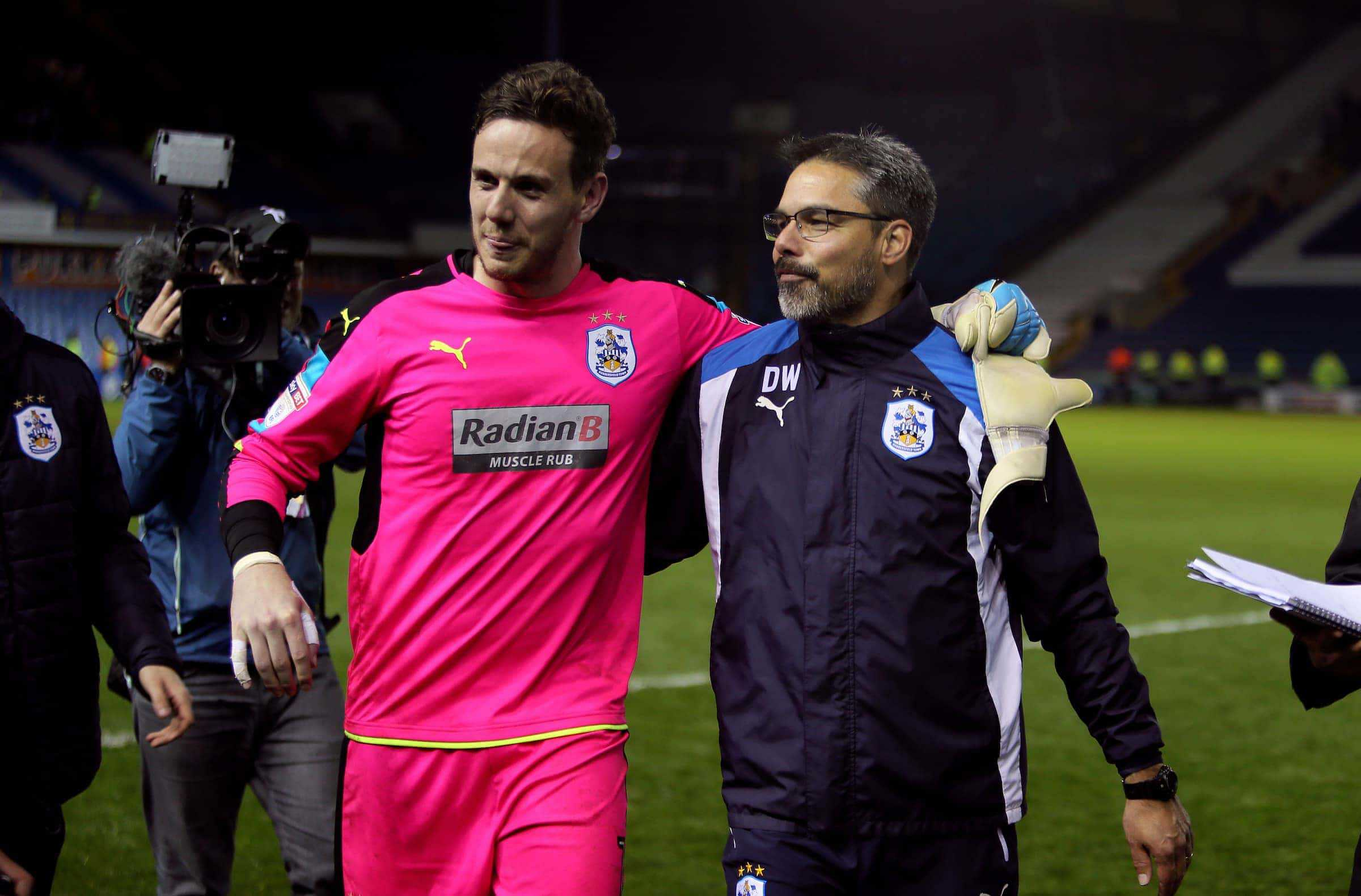 Huddersfield Town manager David Wagner and goalkeeper Danny Ward after the game