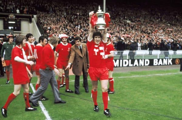 Liverpool captain Emlyn Hughes with the FA Cup