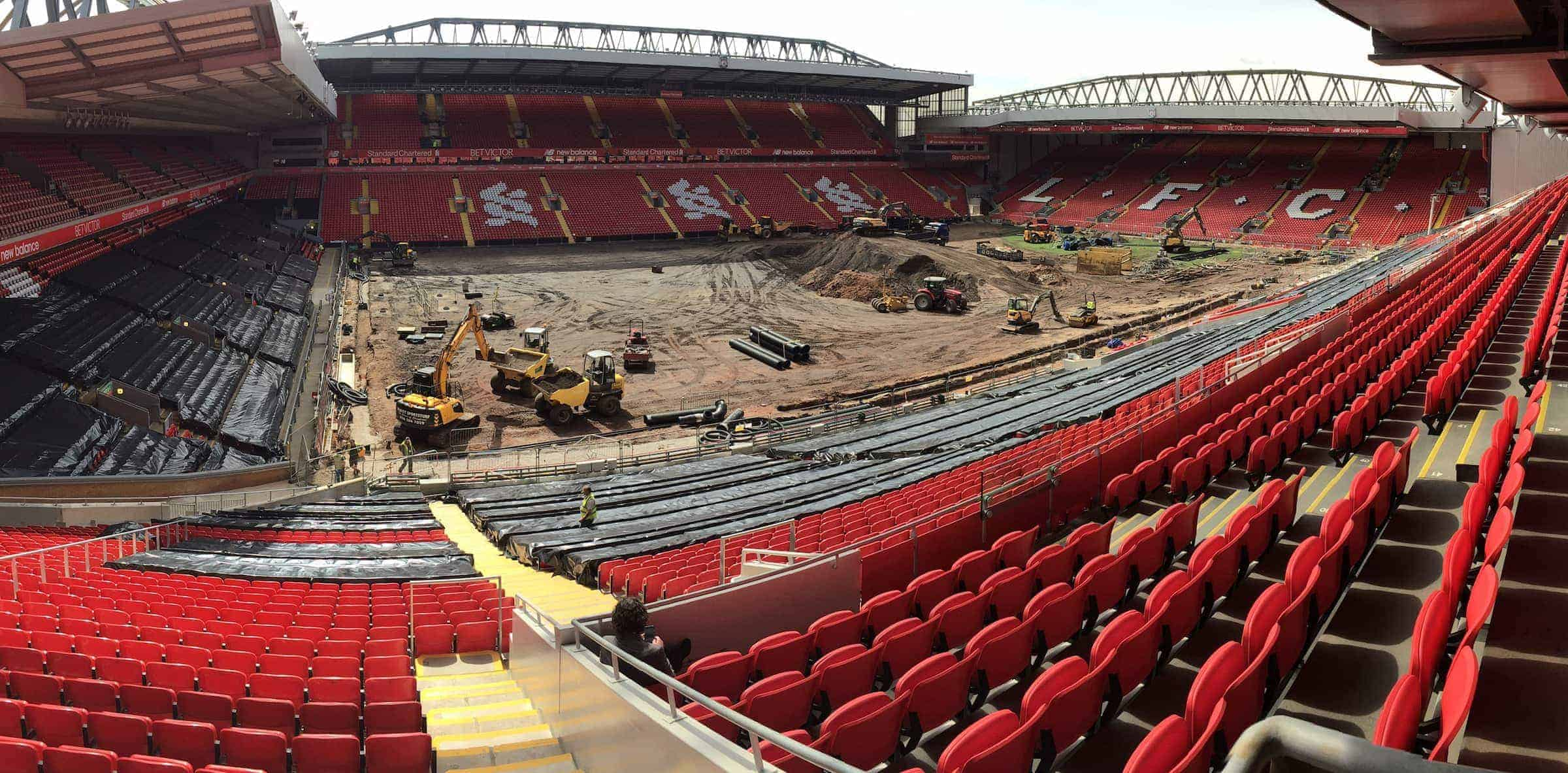 "A general view of Anfield as construction vehicles carry out work on a new ""Desso GrassMaster"" pitch - a combination of natural grass and artificial fibres - after the previous had exceeded its 10 year life span."