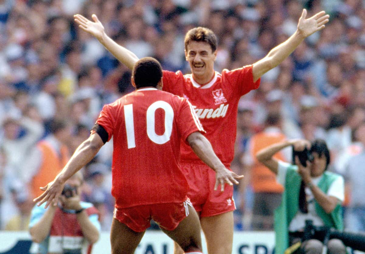 Liverpool's John Barnes (left) celebrates the winning goal with Ian Rush (right) 1989 FA Cup final, Wembley (PA Images)