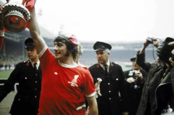 Liverpool's Kevin Keegan celebrates with the FA Cup