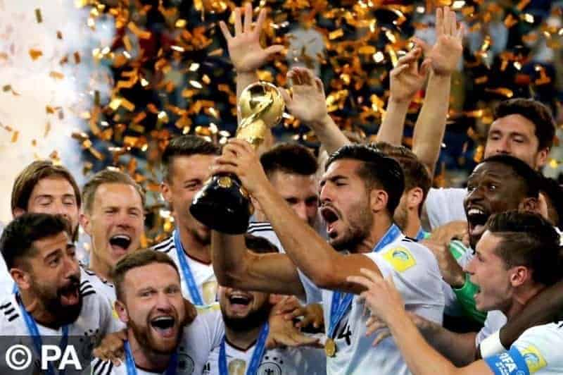 ST PETERSBURG, RUSSIA ñ JULY 2, 2017: Germany's Emre Can holds the trophy as he celebrates with his teammates after winning their 2017 FIFA Confederations Cup final football match against Chile at Saint Petersburg Arena Stadium. Germany won the game 1-0 and claimed their first Confederations Cup title. Alexander Demianchuk/TASS