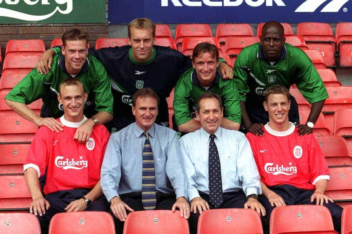 Liverpool's new signings back row (l to r) Erik Meijer, Sander Westerveld, Vladimir Smicer, Titi Camara and front row (l to r) Sammi Hyypia, coach Phil Thompson and manager Gerard Houllier and Stephane Henchoz - Picture by: Michael Steele / EMPICS Sport