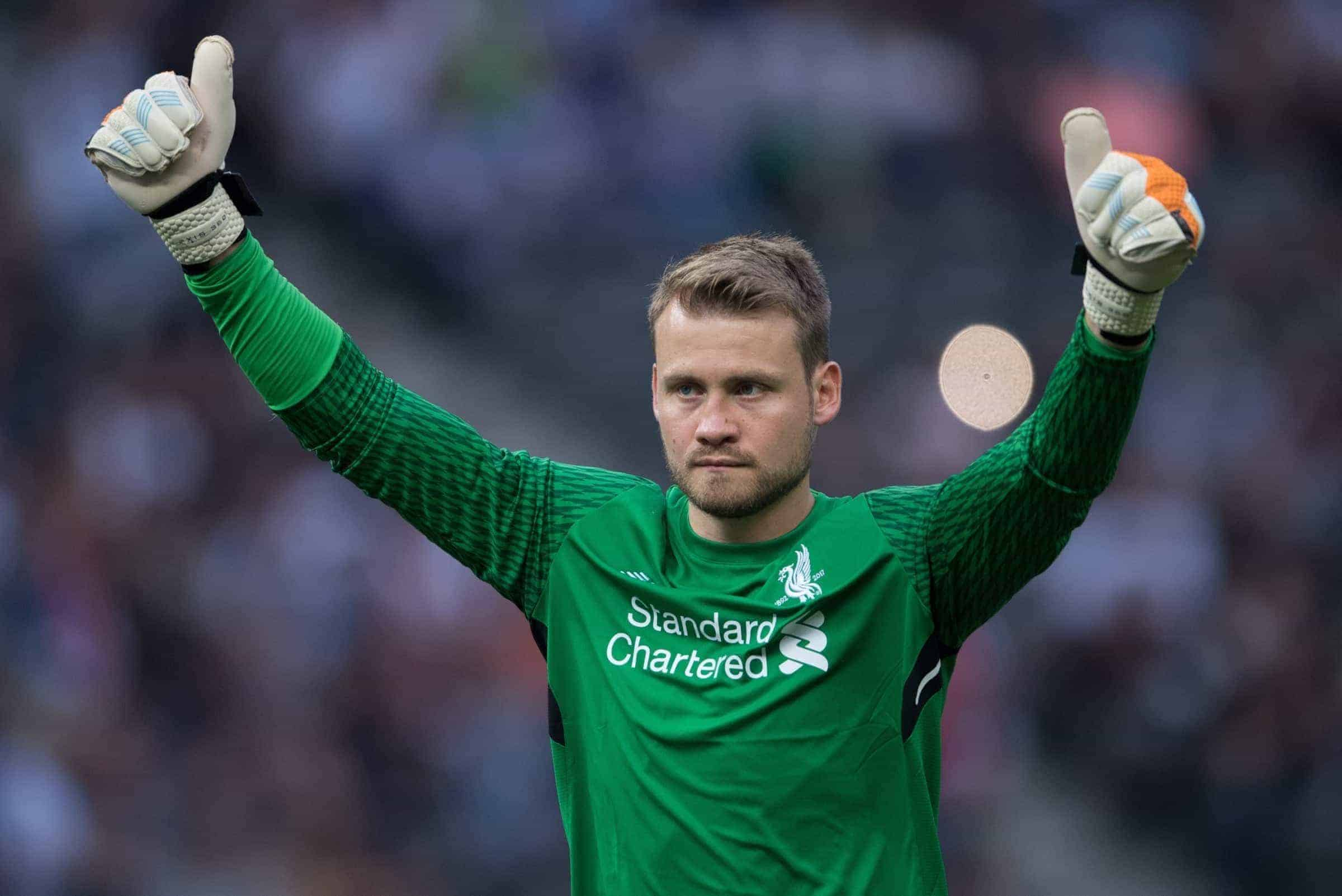 Liverpool's goalkeeper Simon Mignolet gives the thumbs up after his side extend their lead to 3:0 during the international club friendly soccer match between Hertha BSC and FC Liverpool in the Olympia Stadium in Berlin, Germany, 29 July 2017. Photo: Soeren Stache/dpa