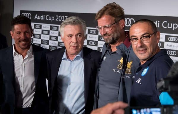 Coaches Diego Simeone of Atletico Madrid (left to right), Carlo Ancelotti of Bayern Munich, Jurgen Klopp of Liverpool and Maurizio Sarri of Napoli taking part in a press conference in Munich,†Germany, 31 July 2017. FC†Bayern Munich, FC†Liverpool, Atletico Madrid and SSC†Napoli will take part in the Audi Cup in Munich, Germany, on 01 and 02 August 2017. Photo: Sven Hoppe/dpa