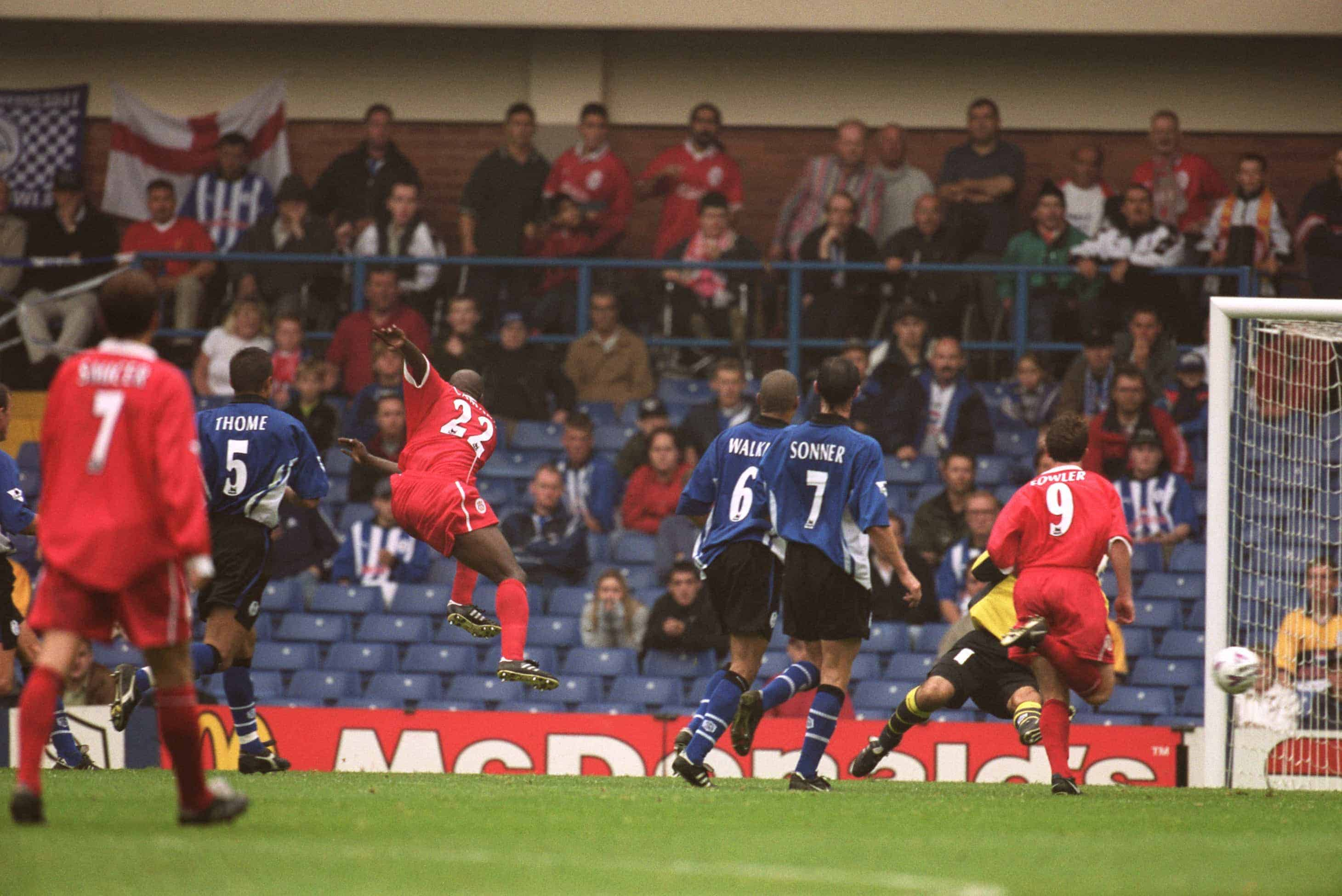 Picture by: Neal Simpson / EMPICS Sport Liverpool's Titi Camara fires the ball past 'Keeper Pavel Srnicek to score their second goal