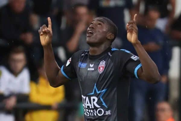 Mouscron's Michael Awoniyi celebrates after scoring during the Jupiler Pro League match between Sporting Lokeren and Royal Excel Mouscron, in Lokeren, Saturday 12 August 2017, on the third day of the Jupiler Pro League, the Belgian soccer championship season 2017-2018. BELGA PHOTO VIRGINIE LEFOUR