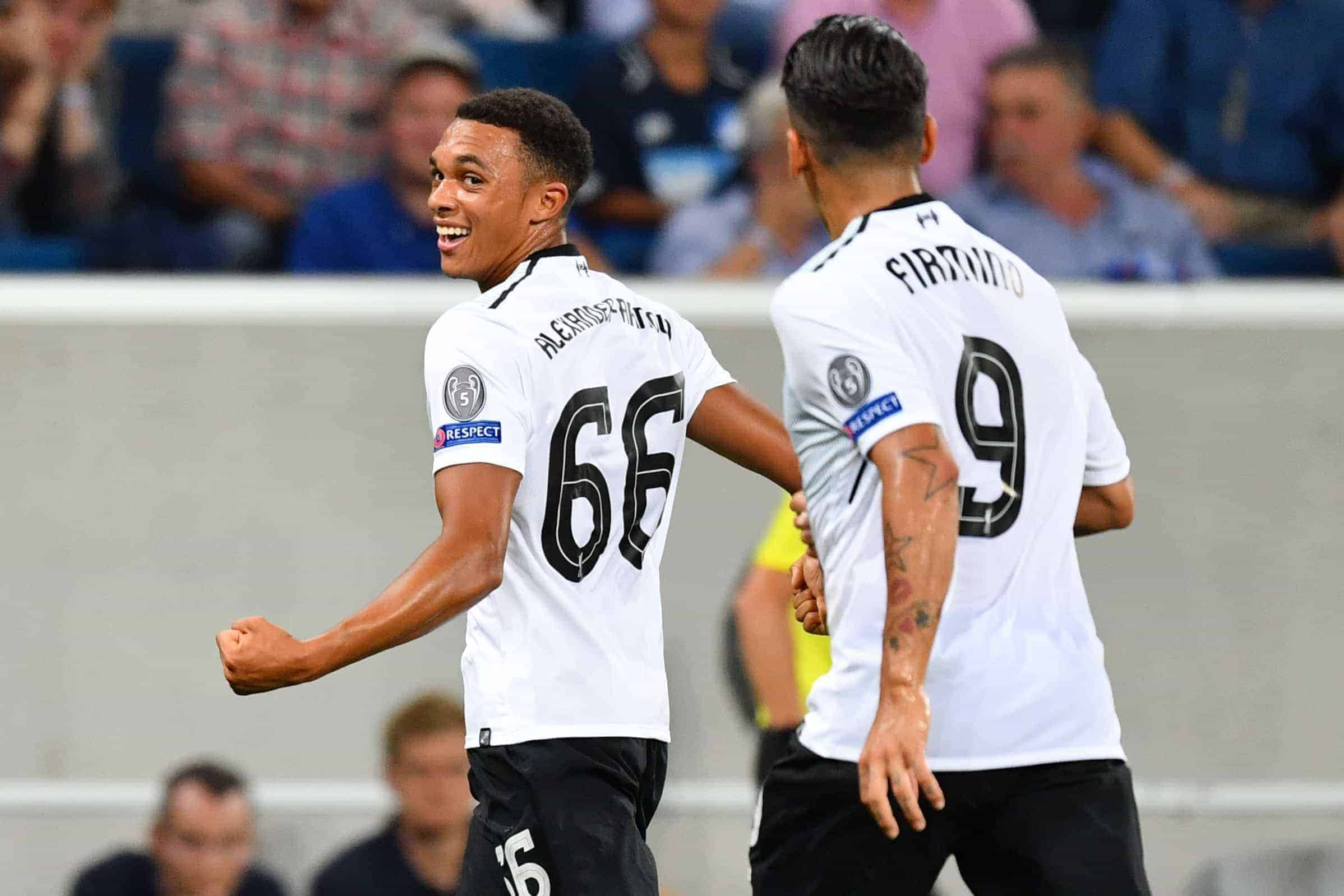 Liverpool's Trent Alexander-Arnold (L) celebrates his 0-1 goal together with his team mate Roberto Firmino during the Champions League's qualifer match between 1899 Hoffenheim and FC Liverpool in the Rhein-Neckar-Arena in Sinsheim, Germany, 15 August 2017. Photo: Uwe Anspach/dpa