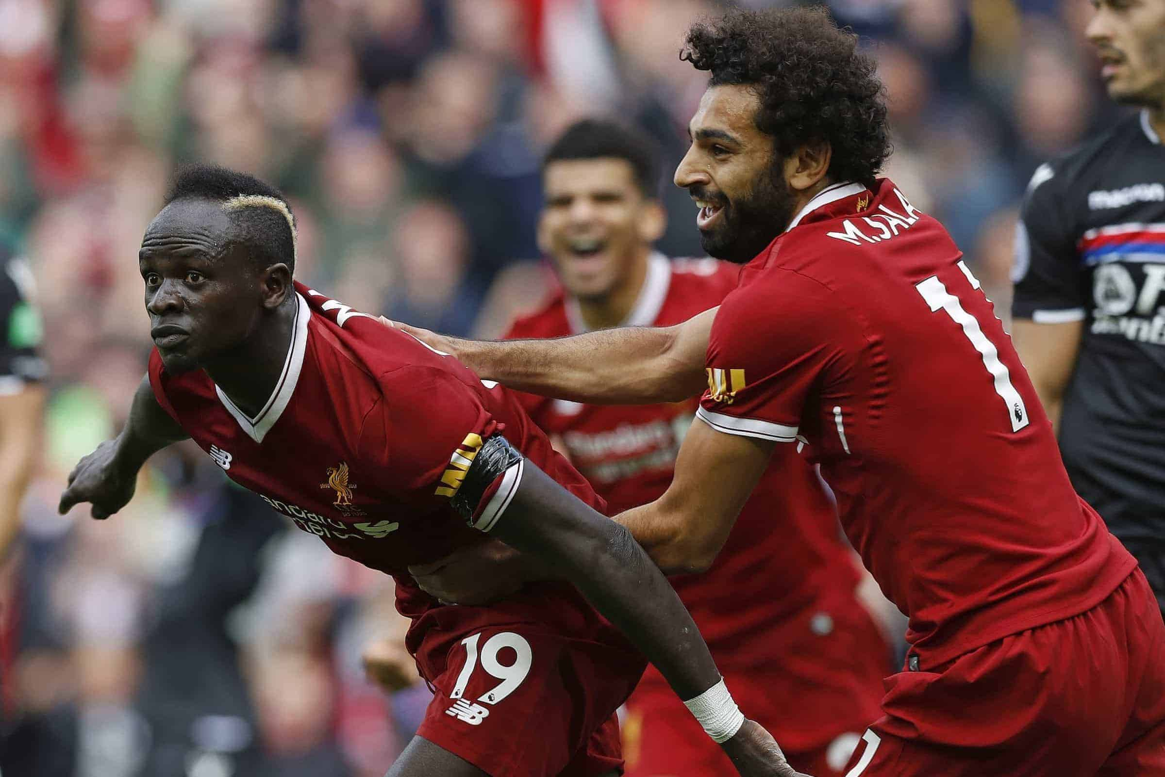 Liverpool's Sadio Mane celebrates scoring his side's first goal of the game during the Premier League match at Anfield, Liverpool. PRESS ASSOCIATION Photo. Picture date: Saturday August 19, 2017. See PA story SOCCER Liverpool. Photo credit should read: Martin Rickett/PA Wire.