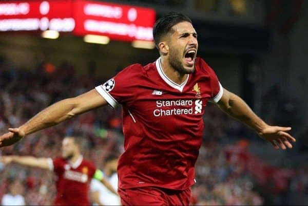 Liverpool's Emre Can celebrates scoring his side's first goal during the UEFA Champions League Play-Off, Second Leg match at Anfield, Liverpool.