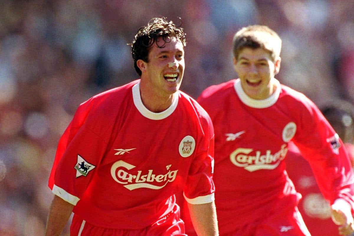 Liverpool's Robbie Fowler celebrates his goal vs. Arsenal w. Steven Gerrard (1999) (Neal Simpson/EMPICS Sport)