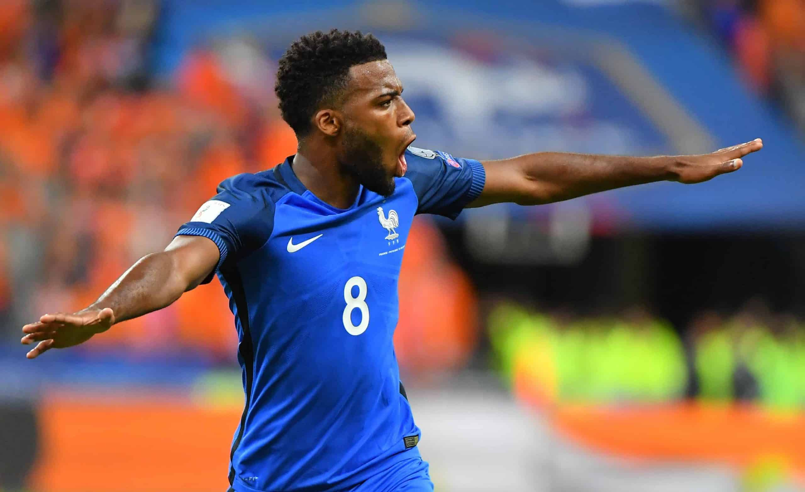 France's Goal and Joy Thomas lemar during the France vs Netherlands 2018 FIFA World Cup Russia Qualifying Match at State de France stadium in Saint-Denis, near Paris, France on August 31, 2017. France won 4-0. Photo by Christian Liewig/ABACAPRESS.COM