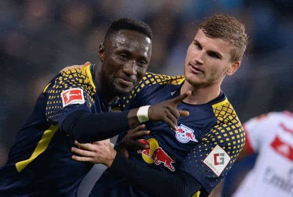 Leipzig's Naby Keita (L) celebrates after scoring the 0-1 lead with team-mate Timo Werner during the Bundesliga soccer match between Hamburg SV and RBLeipzig in the Volksparkstadium in Hamburg, Germany, 08 September 2017. Photo: Daniel Reinhardt/dpa