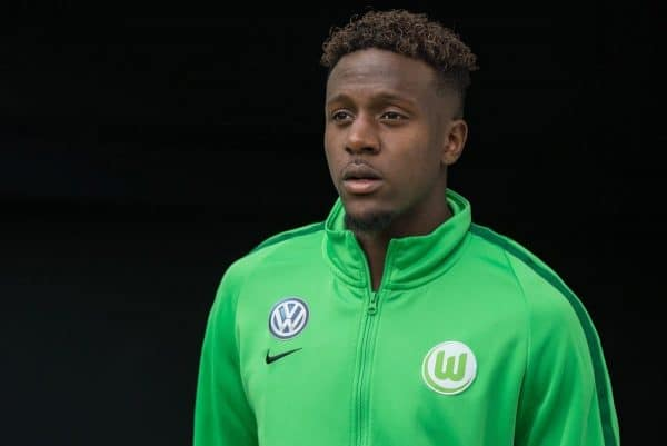 Wolfsburg's Divock Origi ahead of the German Bundesliga soccer match between VfL Wolfsburg and Hanover 96 in the Volkswagen Arena in Wolfsburg, Germany, 9 September 2017. Photo: Silas Stein/dpa