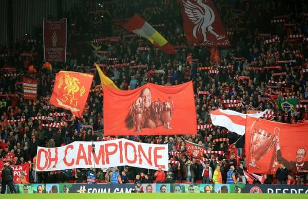 Liverpool fans before the UEFA Champions League, Group E match at Anfield. Wednesday September 13, 2017. Photo: Peter Byrne/PA Wire