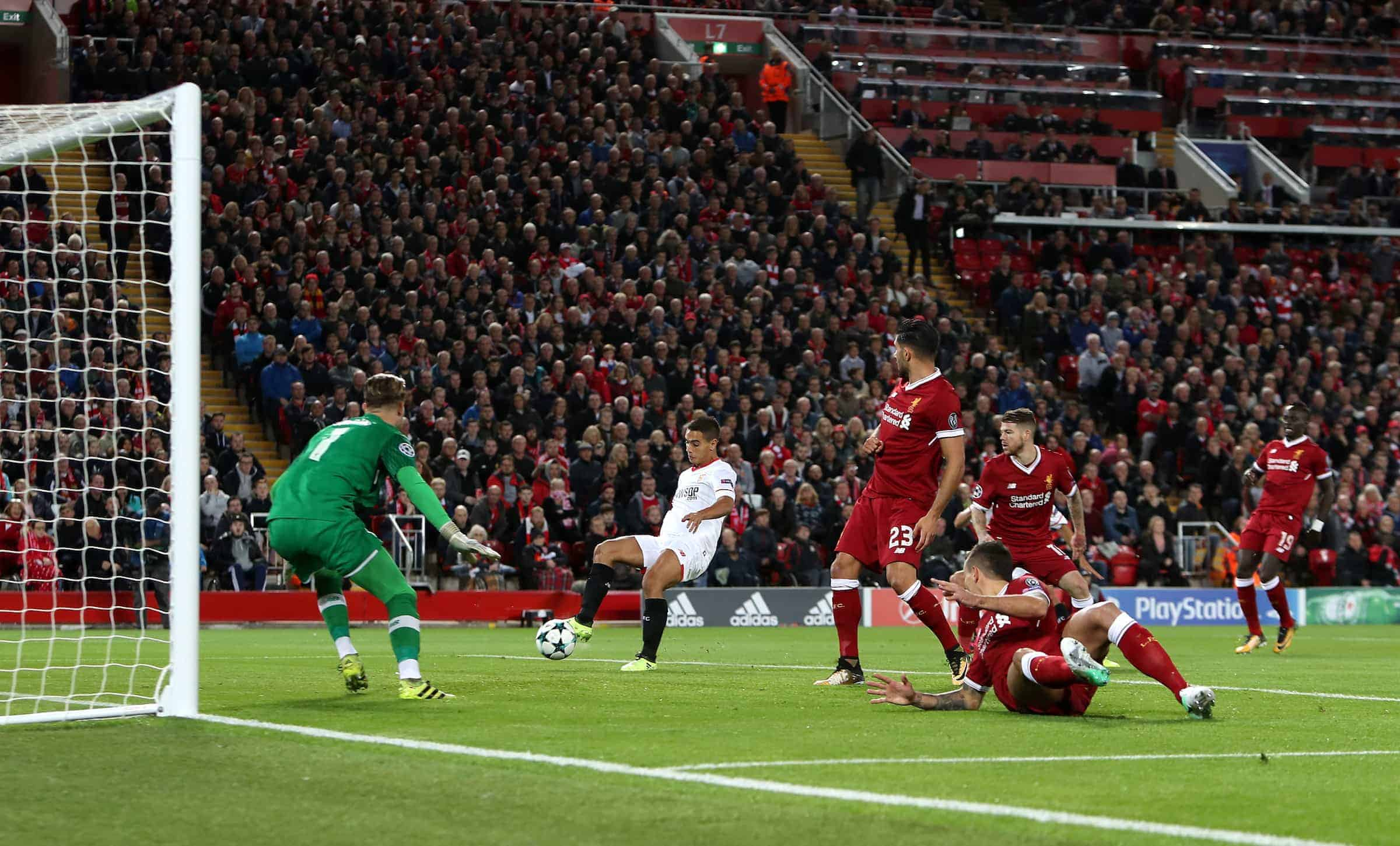 Sevilla's Wissam Ben Yedder (centre) scores his side's first goal of the game