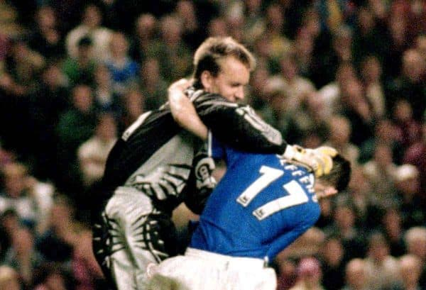 Liverpool goalkeeper Sander Westerveld fights with Everton's Francis Jeffers before both were sent off