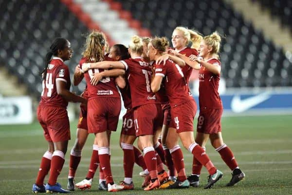 Liverpool Ladies Natasha Harding celebrates scoring her side's first goal during the FA Women's Super League match at the Select Security Stadium, Widnes.