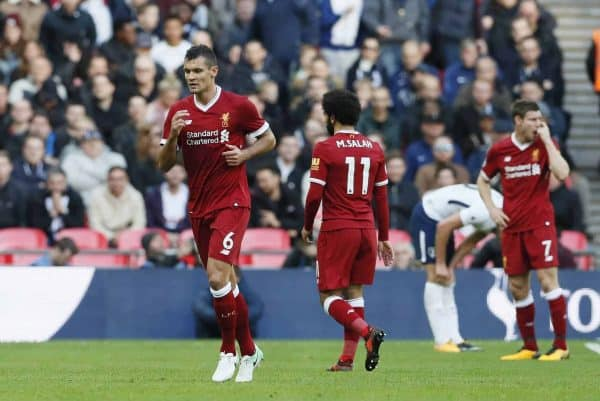 Liverpool's Dejan Lovren goes off after 30 minutes during the premier league match at Wembley Stadium, London. Picture date 22nd October 2017. Picture credit should read: David Klein/Sportimage via PA Images