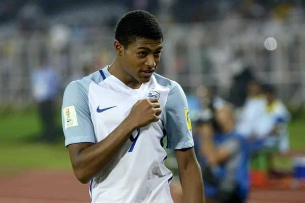 October 25, 2017 - Kolkata, West Bengal, India - England Rhian Brewster (jersey 9) celebrates England win against Brazil at the FIFA U 17 World Cup India 2017 Semi Final match in Kolkata. Players of England and Brazil in action during the FIFA U 17 World Cup India 2017 Semi Final match on October 25, 2017 in Kolkata. (Credit Image: © Saikat Paul/Pacific Press via ZUMA Wire)