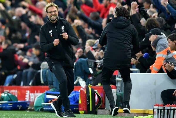Liverpool manager Jurgen Klopp celebrates his side's third goal of the game from Georginio Wijnaldum during the Premier League match at Anfield, Liverpool. Saturday October 28, 2017. (Dave Howarth/PA Wire)