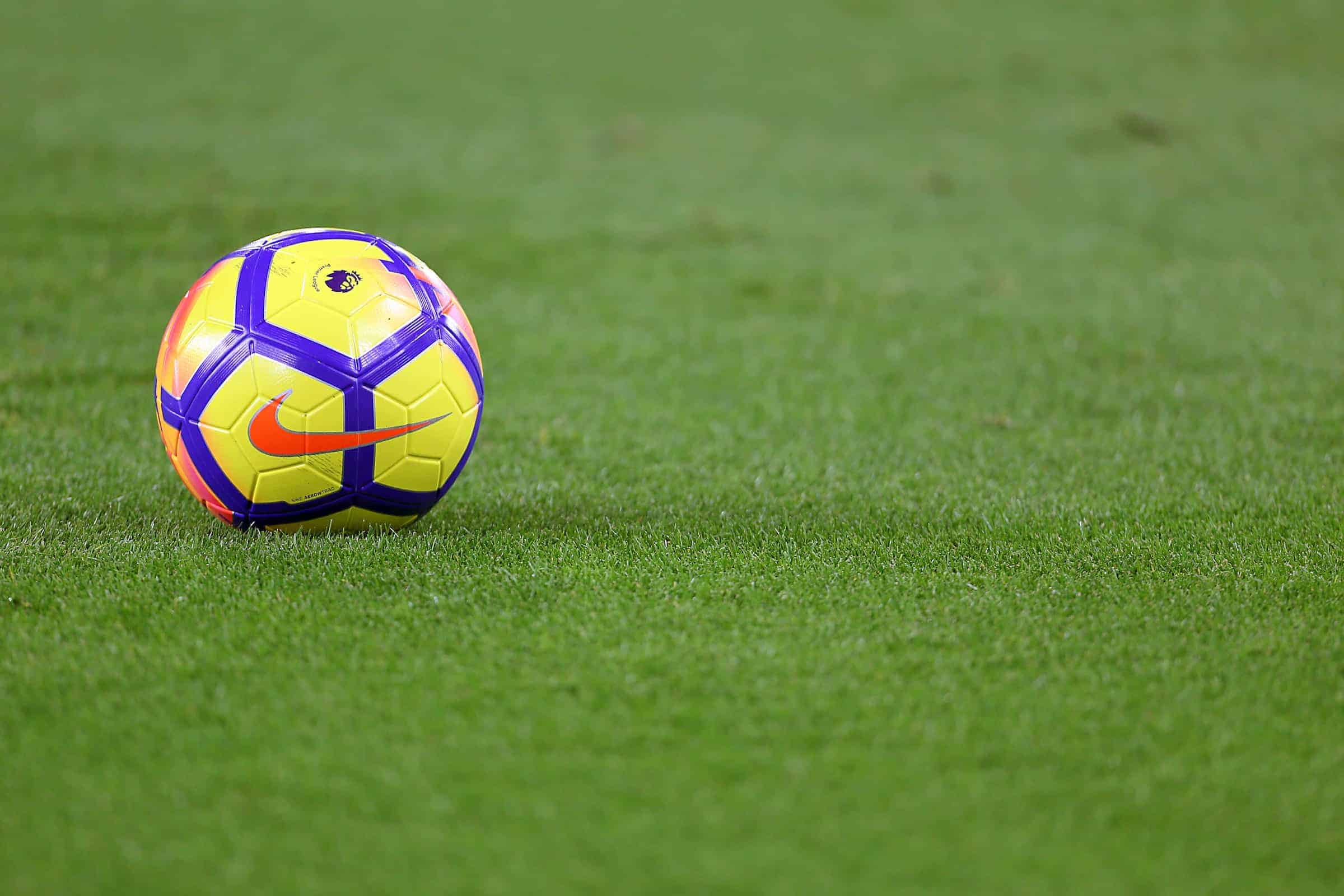General view of a Nike football on the pitch ahead of the match