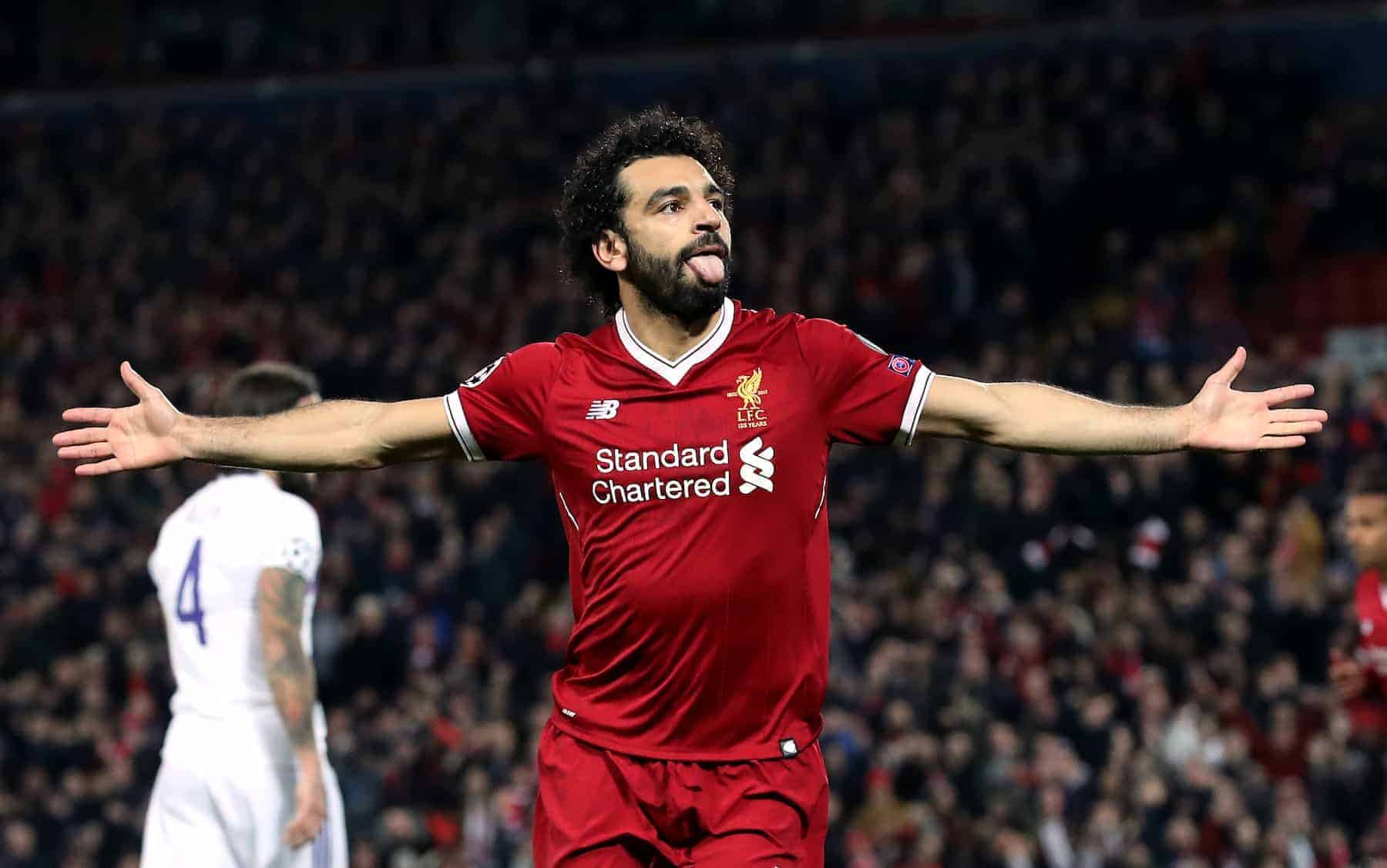 Liverpool's Mohamed Salah celebrates scoring his side's first goal of the game