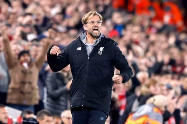 Liverpool manager Jurgen Klopp celebrates his side's second goal (Martin Rickett/EMPICS Sport)