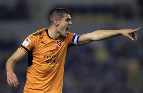 """Wolverhampton Wanderers' Conor Coady during the Sky Bet Championship match at Molineux, Wolverhampton. PRESS ASSOCIATION Photo. Picture date: Friday November 3, 2017. See PA story SOCCER Wolves. Photo credit should read: Mike Egerton/PA Wire. RESTRICTIONS: EDITORIAL USE ONLY No use with unauthorised audio, video, data, fixture lists, club/league logos or """"live"""" services. Online in-match use limited to 75 images, no video emulation. No use in betting, games or single club/league/player publications"""