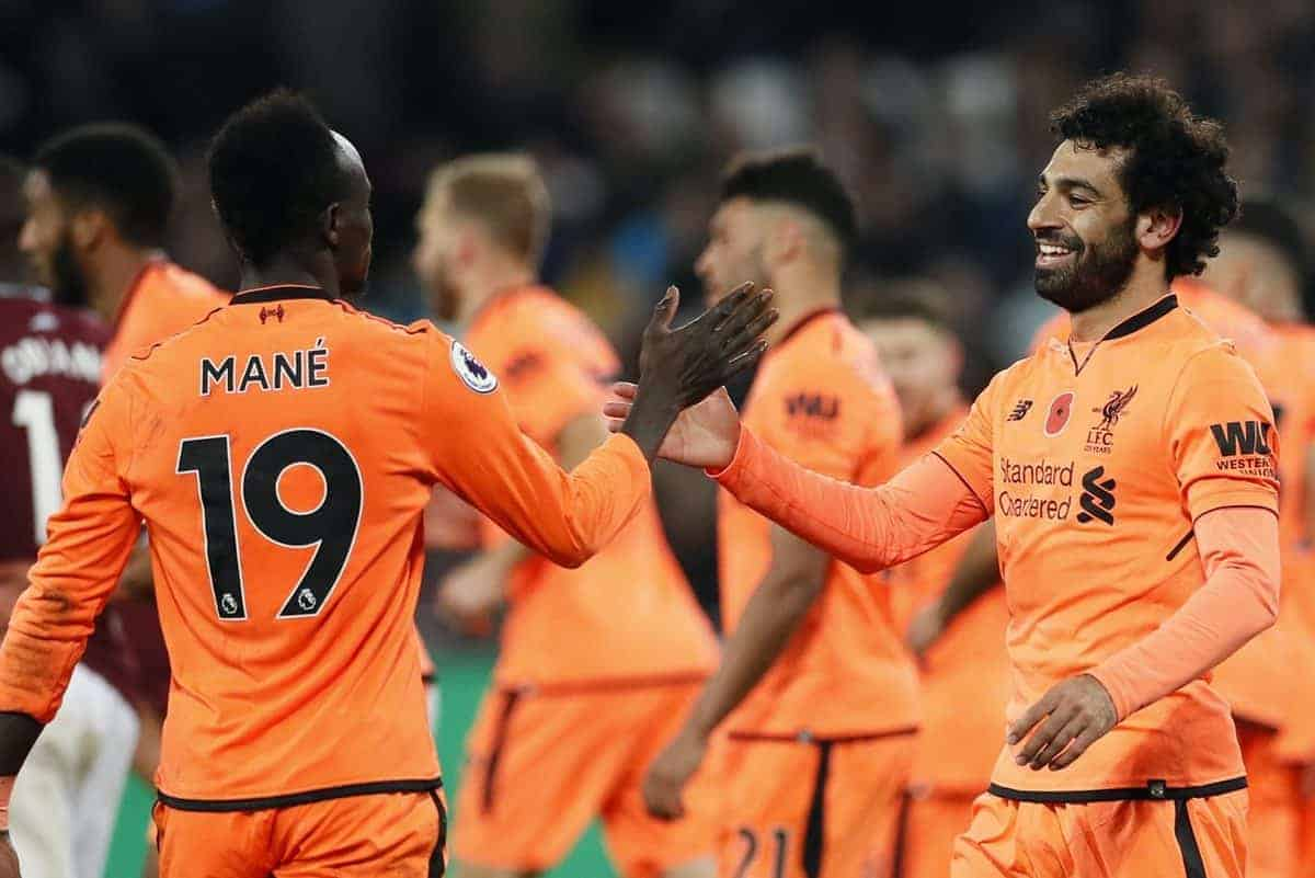 Liverpool's Mohamed Salah celebrates scoring his sides fourth goal during the premier league match at the London Stadium, London. Picture date 4th November 2017. Picture credit should read: David Klein/Sportimage via PA Images