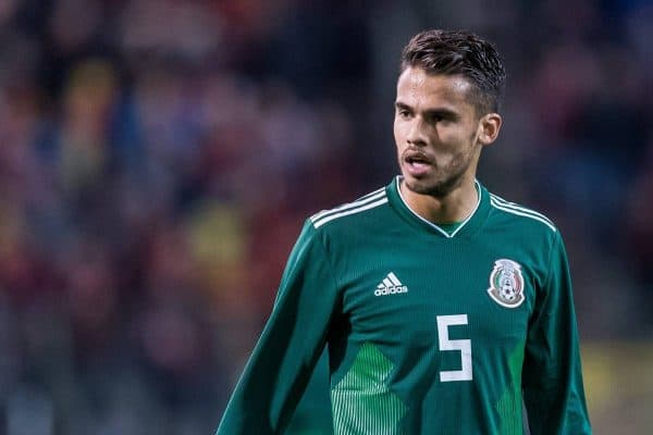 Diego Reyes of Mexico during the friendly match between Belgium and Mexico on November 10, 2017 at the Koning Boudewijn stadium in Brussels, Belgium.