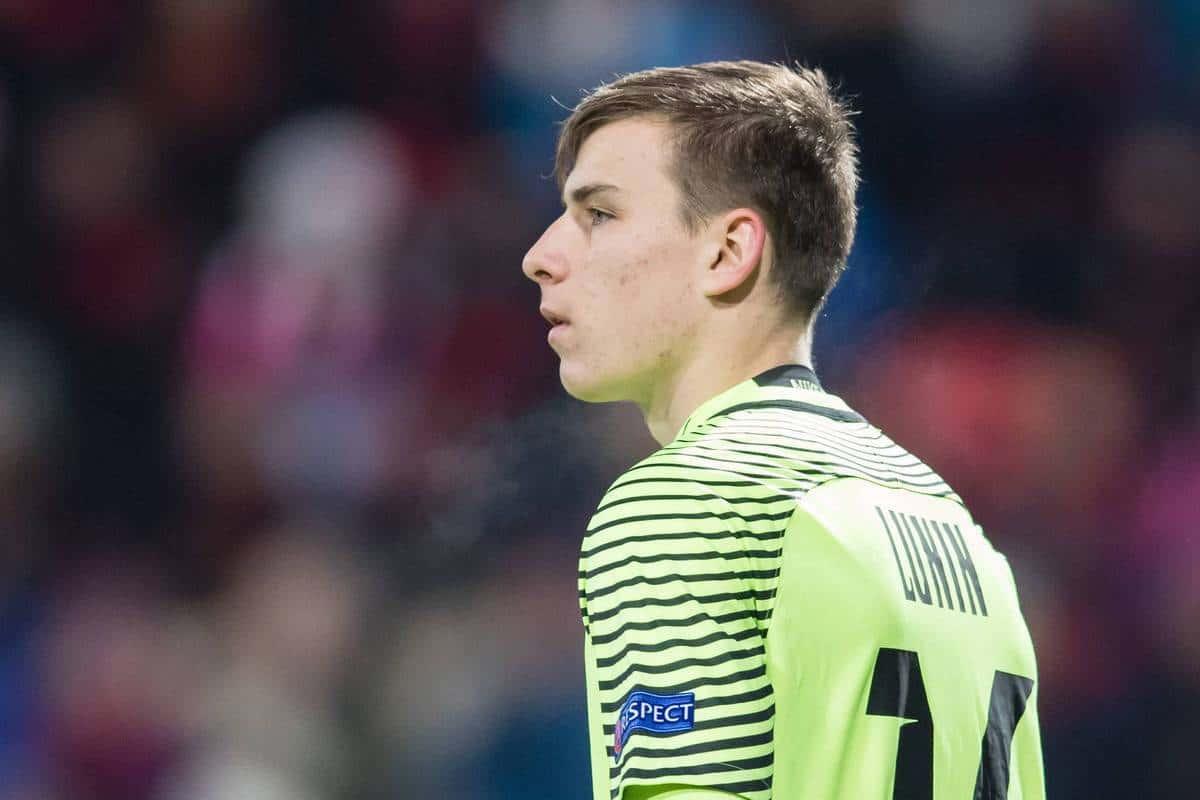 171123 Zorja Luhansks malvakt Andriy Lunin under fotbollsmatchen i Europa League mellan ÷stersund och Zorja Luhansk den 23 november 2017 i ÷stersund. PUBLICATIONxNOTxINxDENxNORxSWExFINxAUT.