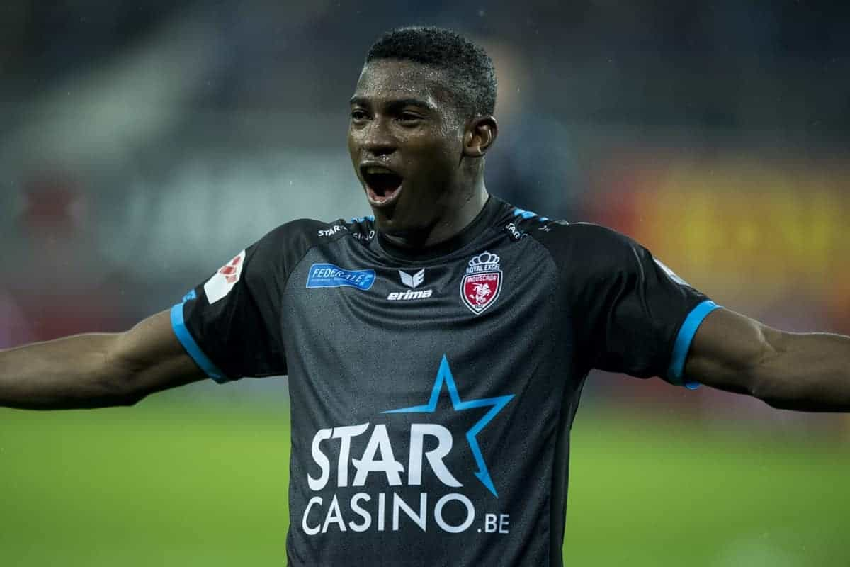 Mouscron's Taiwo Awoniyi celebrate after scoring during the Jupiler Pro League match between KAA Gent and Royal Excel Mouscron, in Gent, Friday 24 November 2017, on the day 16 of the Jupiler Pro League, the Belgian soccer championship season 2017-2018. BELGA PHOTO JASPER JACOBS