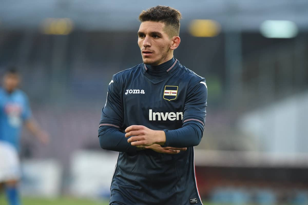 Lucas Torreira of U.C. Sampdoria during the Serie A TIM match between SSC Napoli and UC Sampdoria at Stadio San Paolo Naples Italy on 23 December 2017. (Photo Franco Romano)