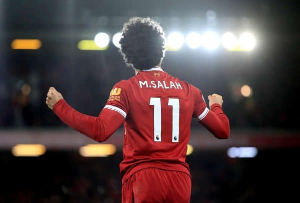 Liverpool's Mohamed Salah celebrates scoring his side's second goal during the Premier League match at Anfield, Liverpool.