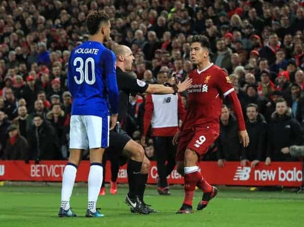 Everton's Mason Holgate (left) and Liverpool's Roberto Firmino during the FA Cup, third round match at Anfield, Liverpool. (Peter Byrne/PA Wire/PA Images)