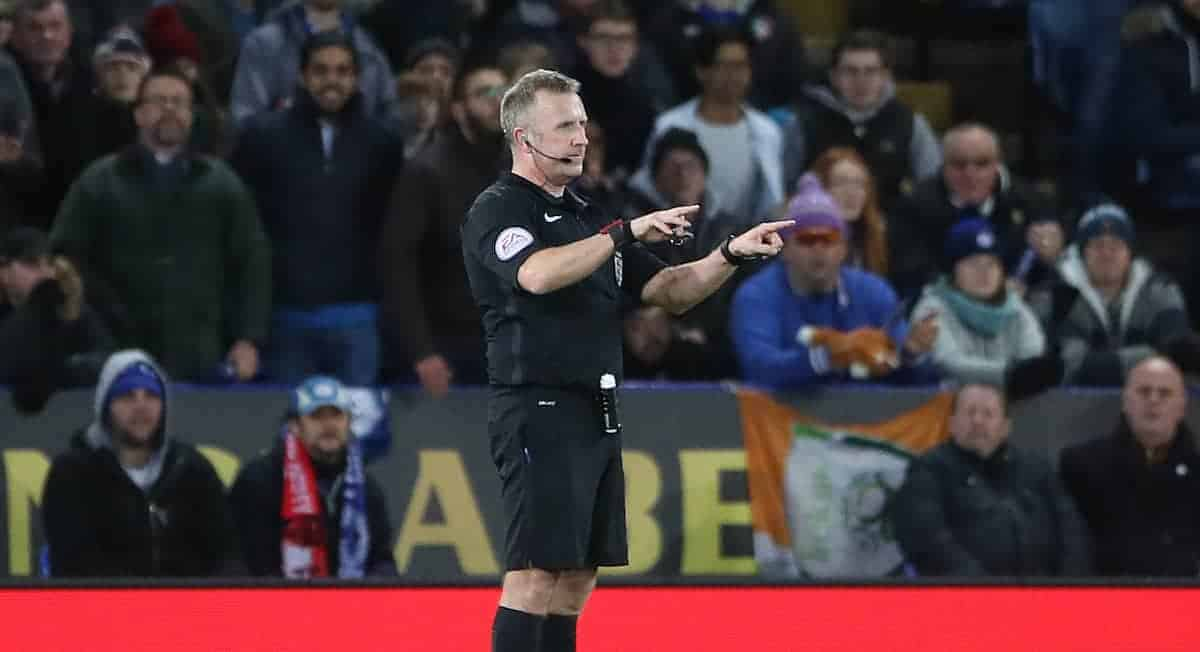File photo dated 16-01-2018 of Referee Jonathan Moss consulting VAR before giving Leicester City's second goal to Kelechi Iheanacho during the FA Cup Replay at the King Power Stadium, Leicester. PRESS ASSOCIATION Photo.