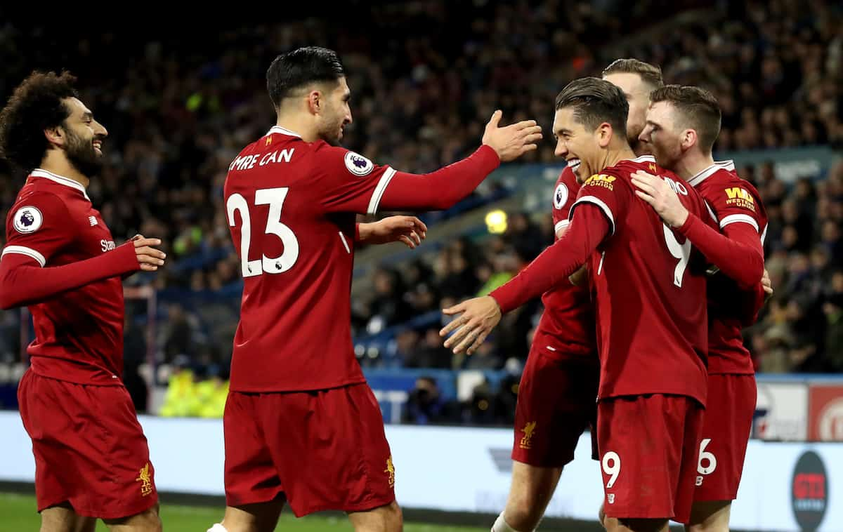 Liverpool's Roberto Firmino (third right) celebrates scoring his side's second goal of the game during the Premier League match at the John Smith's Stadium, Huddersfield. ( Martin Rickett/PA Wire/PA Images)