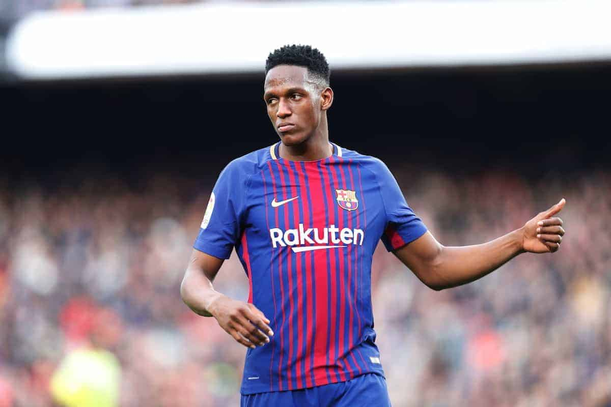 "Yerry Mina (Barcelona), FEBURUARY 11, 2018 - Football / Soccer : Spanish ""La Liga Santander"" match FC Barcelona 0-0 Getafe CF at the Camp Nou in Barcelona, Spain. (Photo by Mutsu Kawamori/AFLO) [3604]"