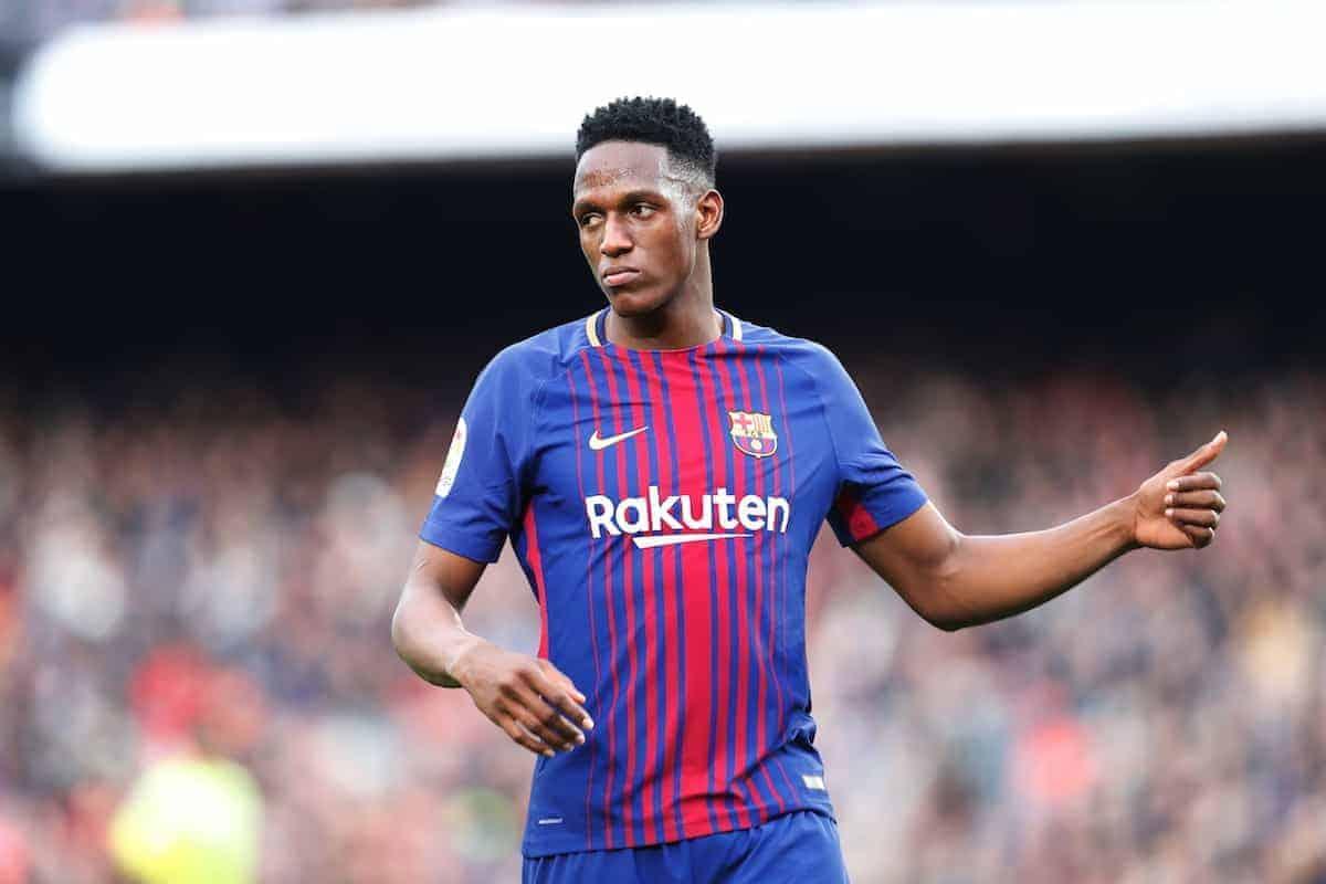 "Yerry Mina (Barcelona), FEBURUARY 11, 2018 - Football / Soccer : Spanish ""La Liga Santander"" match FC Barcelona 0-0 Getafe CF at the Camp Nou in Barcelona, Spain. (Photo by Mutsu Kawamori/AFLO) [3604]"
